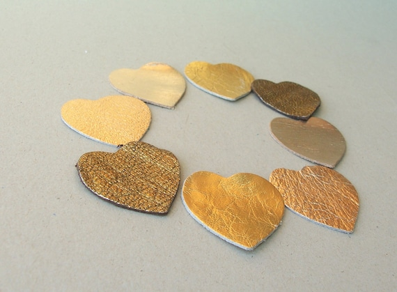 8 pcs Golden Shades Leather Hearts Die Cuts