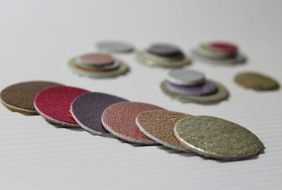 21 pcs  Metallic Colors Leather Circles