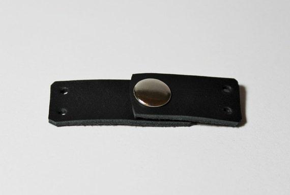 Black Leather Cuff Ends  For Making Bracelet