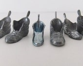 Metal Monopoly Game Pieces - set of 8 old boots