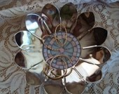 silver plated mosaic flower bowl