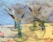 Set of 4 Champagne Glasses-Handblown-Bubble Stems