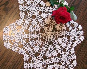 "Crochet Doily-Vintage Lacy Off White 12"""