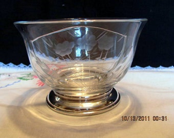 Glass Divided Bowl With Sterling Silver Base, Very Elegant, Etched Glass