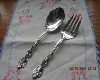 International Silverplate Large Salad Set Fork and Spoon