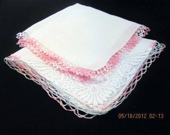 2 Ladies Hankies with Crocheted or Tatted Edges