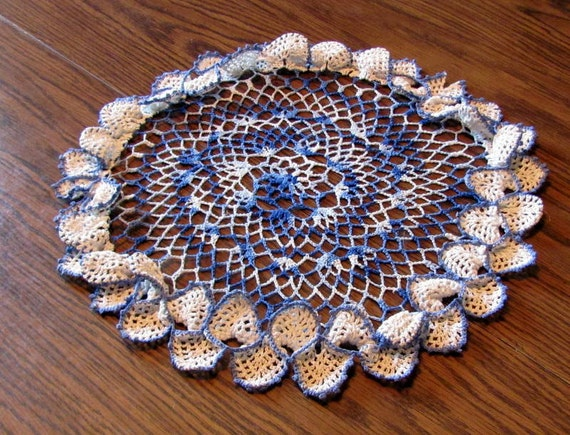 """Crochet Doily--Blue and White-15 1/2"""" and Beautiful FREE SHIPPING"""
