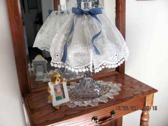 Lamp Shade Wire Cover and Lace for Antique Kerosene Lamps So Shabby Chic