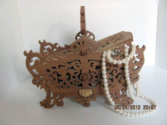Wood Fretwork Jewelry Box or Trinket Box