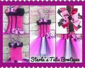 hot pink and black Minnie Mouse Inspired Tutu dress 12 months