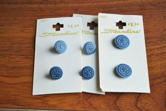 Blue with Black Floral Buttons on Original Cards
