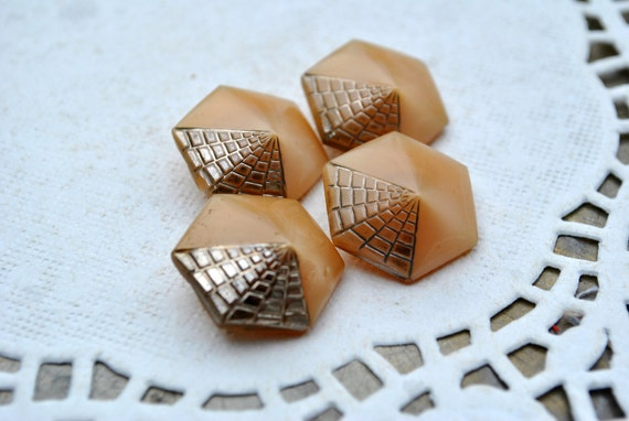 Vintage Tan Glass Buttons with Silver Web Design