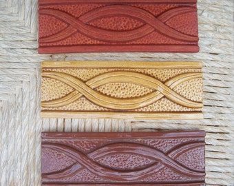 """Ceramic Tile -- Handmade -- 2"""" x 6"""" Twisted Ribbon Border Relief Tile -- MADE TO ORDER"""