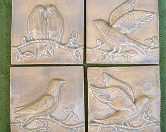 Ceramic Tiles -- Birds on a Vine Relief  Architectural  Tiles -- Set of Four in Oystershell Glaze, IN STOCK