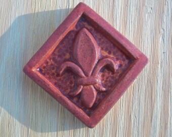 Ceramic Accent Tile --  2-inch Fleur de Lis -- MADE TO ORDER