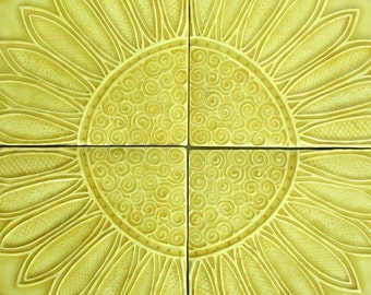 Arts & Crafts Sunflower Tile Set -- Set of 4 six inch tiles, MADE TO ORDER in your choice of glaze