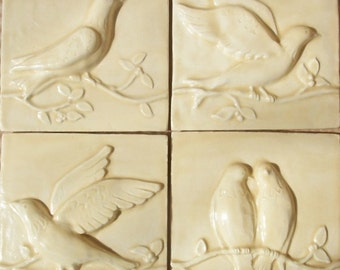 Birds on a Vine Relief Ceramic Tiles  -- Set of 4 -- Champagne Glaze -- Accent Tiles, READY TO SHIP