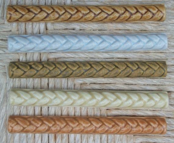 """Ceramic Tile -- Handmade -- 3/4""""x6"""" Braid Listello Border  Tile -- MADE TO ORDER"""
