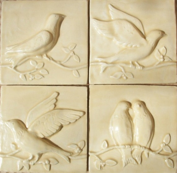 Birds On A Vine Relief Ceramic Tiles Set Of 4 Champagne