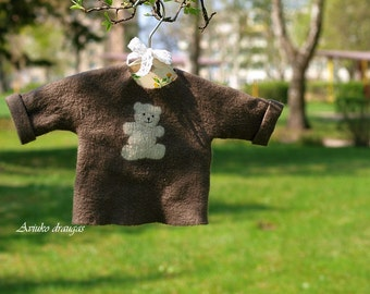 Felt jacket for baby - wool shirt - handmade sweater - felt sweater - baby sweater