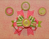 Pink and Green Preppy Boutique Hair Bow - 4 Interchangeable Images - Princess Hair Bow - Easter Hair Bow - READY TO SHIP