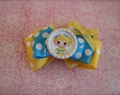 Lalaloopsy Curls N Locks Inspired Boutique Bow - Goldilocks bow - Blue and Yellow Stacked Bow - READY TO SHIP
