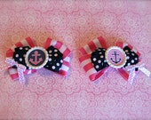 Anchor Hair Bow - Nautical Hair Bow - Preppy Hair Bow - Navy Hair Bow - Pink and Navy Hair Clip - Set of 2 - READY TO SHIP