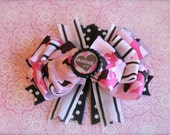 USMC Hair Bow - Marine Hair Bow - Military Hair Bow - Layered Boutique Bow - Pink and Brown - READY to SHIP