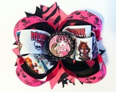 Monster High Boutique Bow - Draculara Hair Bow - Layered Boutique Bow - READY TO SHIP