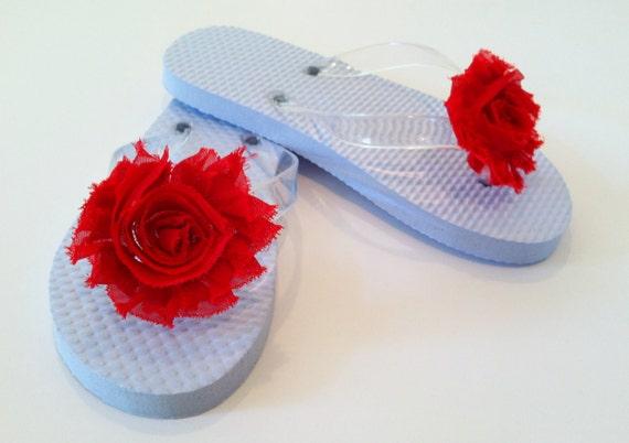 Shoe Clips - Shabby Rose Clip - Red Shoe Clip - Flip Flop Flower Clip - Toms Shoe Accessory - Bridal Shoes - Interchangeable Shoe Clip