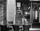 Rivoli Park - Cafe - Brasserie -Rue de Rivoli - Bistro - Street Scene - Paris - France - Fine Art -Black and White - 8x10 Photograph