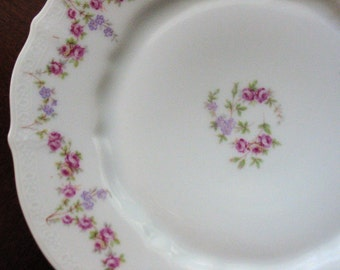Antique C Tielsch Pink Roses with Lavender Flowers Antique Plate from Altwasser Germany