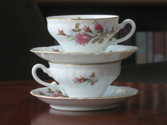Moss Rose Fine China Royal Rose Cups and Saucers