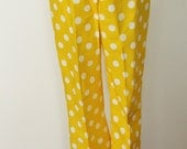 Vintage Sunshine Yellow Polka Dot  High Waisted Capri Pants