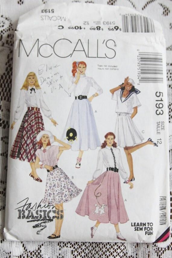 1990's McCall's Circular Skirt Pattern Size 12