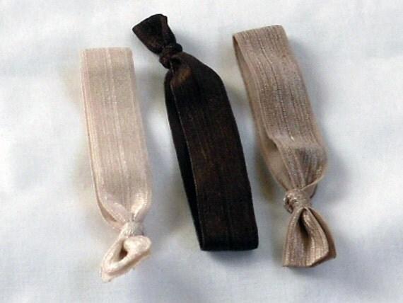 Trendy No Tug Hair Ties, Girls Elastic Hair Ties, Neutral, Brown,Tan, Fall Trend