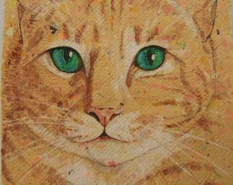 watercolor painting original cat 5x7