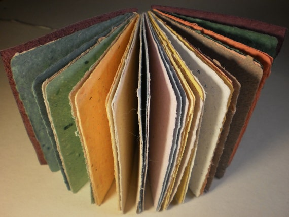 blank book multicolor handmade paper pages with leather cover