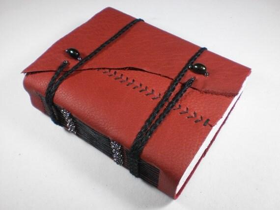 sketchbook leather red blank journal