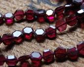 5mm Garnet Hexagon Beads Approx 60 Beads