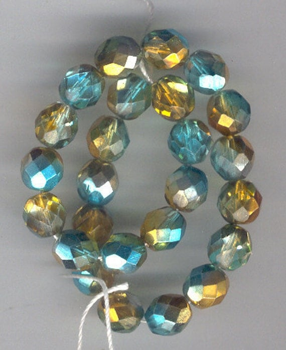 Teal, Copper 8mm Czech Glass Bead Item02732 Vintage Free Ship