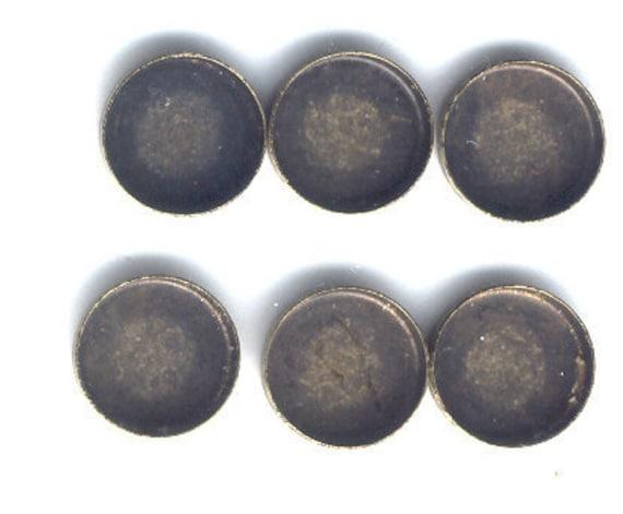 13mm Flatwalled Bezels, Brass Ox, Made In USA, 6 Pc, Item01709,