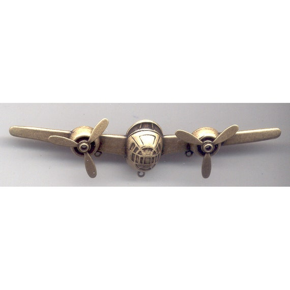 Steampunk Airplane, Two Propellers, Twirling, Four Inches, Item04260