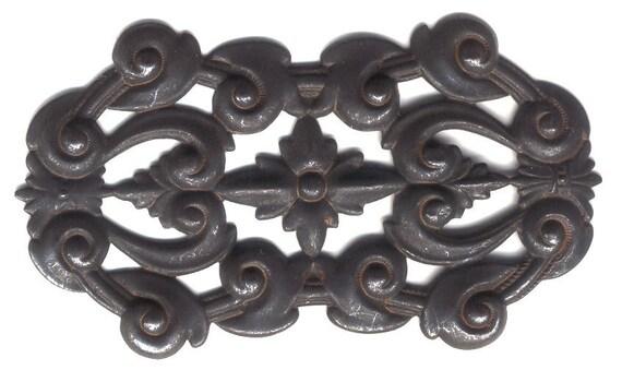 Rusty Black Brass, Large Pierced Plaque, Make Cuff Tops, Item06980