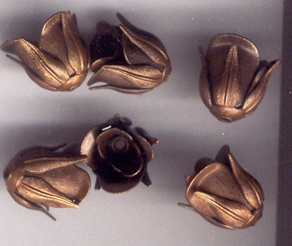 Chocolate Patina Brass Handmade Brass Rosebud Beads, B'sue Boutiques, Item07141