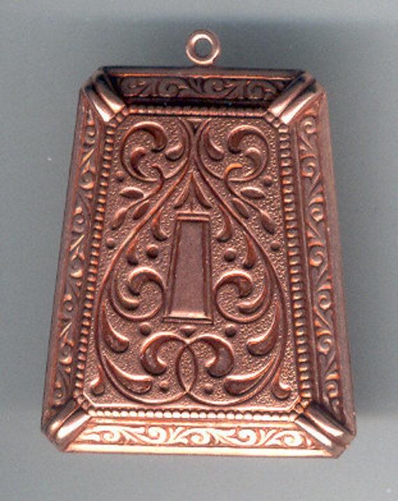 Old Rose Ox Vintage Copper Plated Art Deco Pendant, Designer Findings, B'sue Boutiques, Item07765