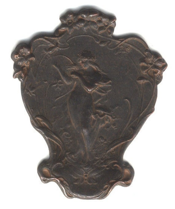 Rusty Black Patina Brass, Nymph with Harp Plaque, Brass Stampings, B'sue, Item07858