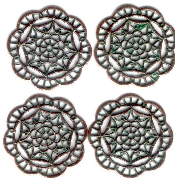 Spiderweb Style Filigree Stamping, Green Patina Over Copper Ox, Item08222