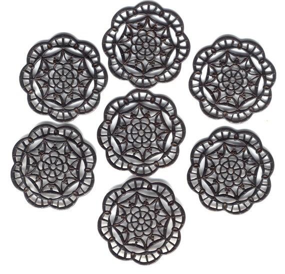 Spiderweb Filigree, Rusty Patina Brass, Seven Pieces, 40mm, B'sue Boutiques, Item08650