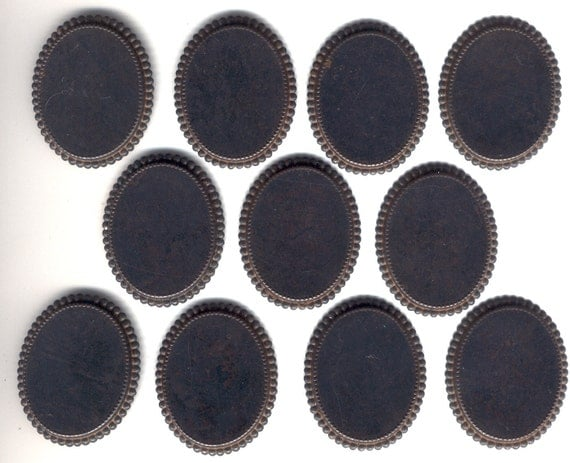 Rusty Black Patina Brass Mounts, 40x30mm, Clearance Sell Out, B'sue, Item08580